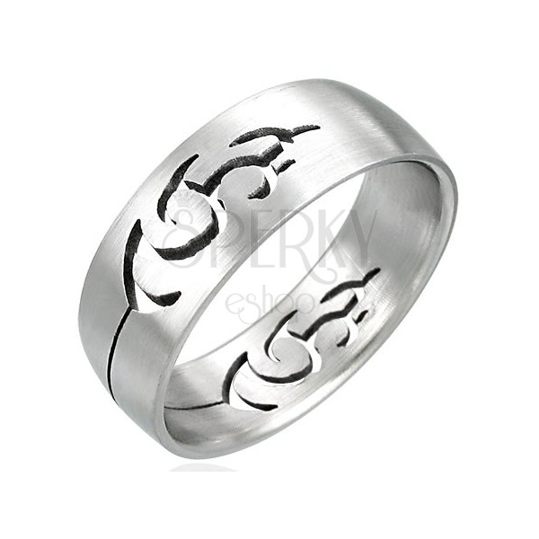 Stainless steel ring with cut-out TRIBAL ornament