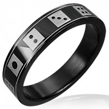 Black dice ring made of steel