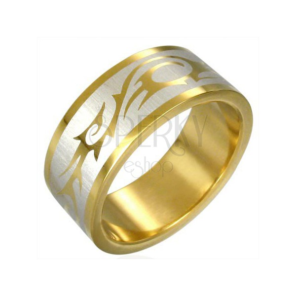 TRIBAL SYMBOL ring in gold colour
