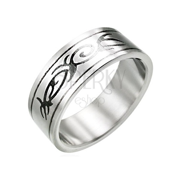 TRIBAL ornament steel ring