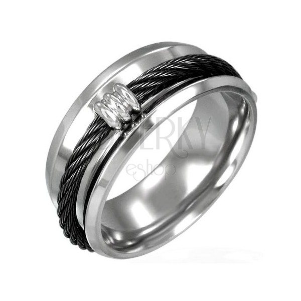Black twisted wire steel ring