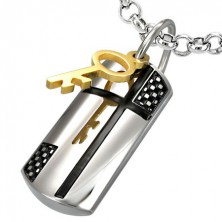 Steel pendant with magic key and cross