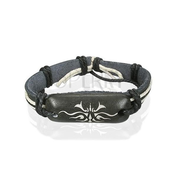 Leather bangle - black, Tribal motif