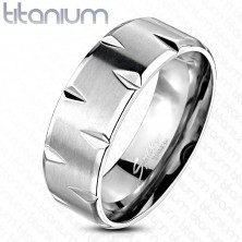 Titanium ring - satin finish adorned with cuts