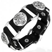 Black leather bracelet fleur de lis cross