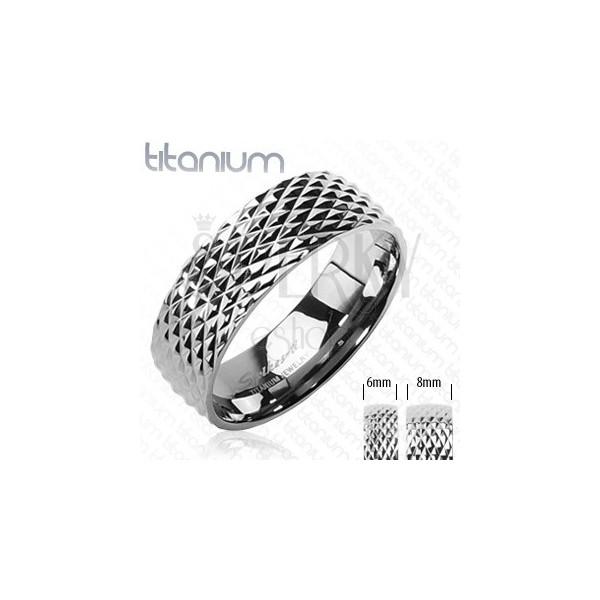 Titanium ring with snakeskin pattern