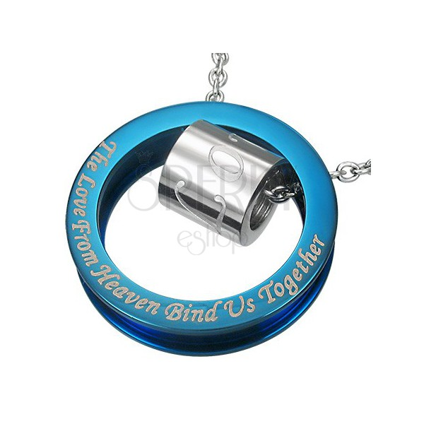 Blue-silver stainless steel pendant with romantic phrase