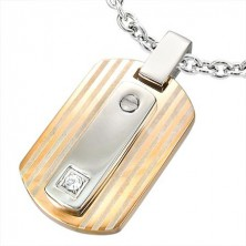 Stainless steel pendant with zircon - copper and silver colour