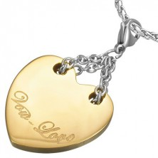 Vow Love two-tone stainless steel heart pendant