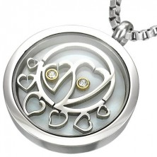 Circle steel pendant with hearts and zircons inside