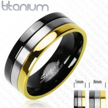 Titanium ring with onyx, silver and golden stripe