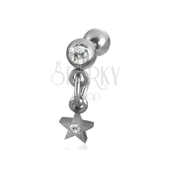 Dangle star labret with zircon