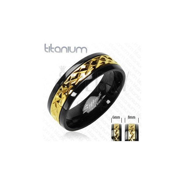 Black titanium ring with patterned golden stripe