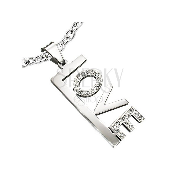 Stainless steel LOVE pendant with zircons