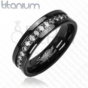 Black titanium ring with embedded zircons alongside whole perimeter