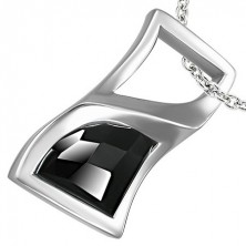 Stainless steel pendant - curved rectangle with black rhinestone