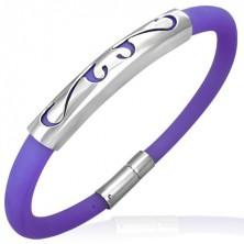 Round rubber bracelet - ornament, purple