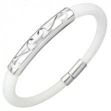 Round rubber bracelet - ornament, white colour
