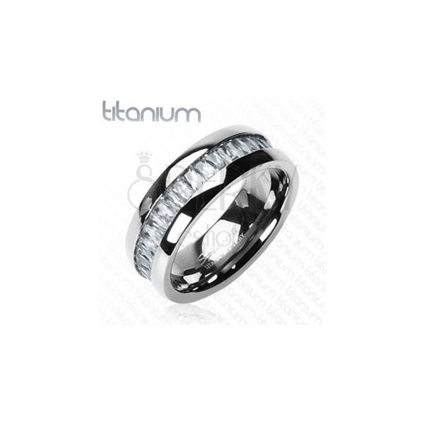 Titanium ring with embedded rectangular zircons