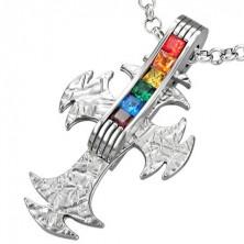 Steel cross pendant with rainbow rhinestones - GAY PRIDE