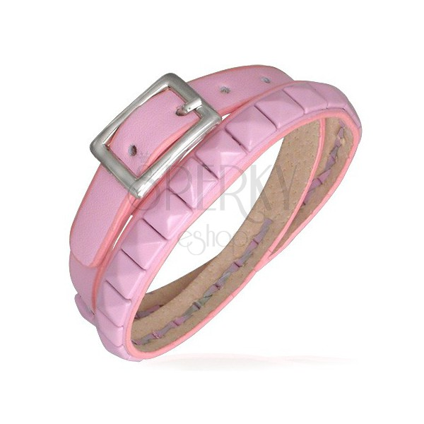 Doubled pink leather bracelet - pyramid studs