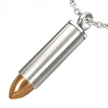 Stainless steel cartridge pendant with copper coloured bullet