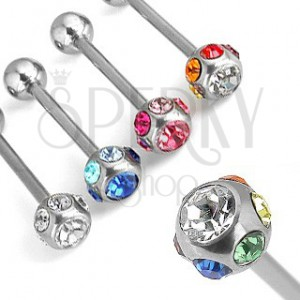 Tongue piercing with colurful gemstones