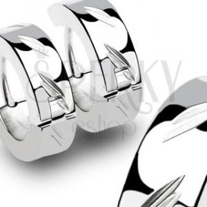 Stainless steel earrings with slanted grooves - pair