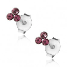 925 silver earrings, three round Swarovski crystals in violet colour