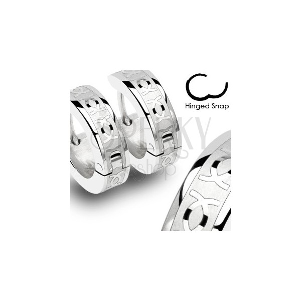 Pair of stainless steel earrings with double CC