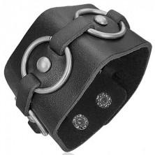 Black leather bracelet - metal circles