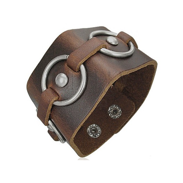 Brown leather bracelet - metal circles