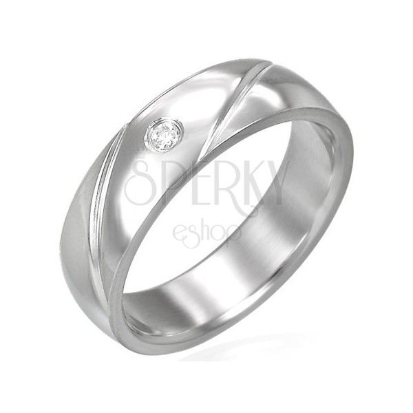 Steel band ring with zircon