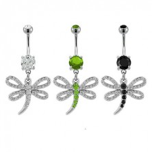 Zirconic dragonfly belly button ring