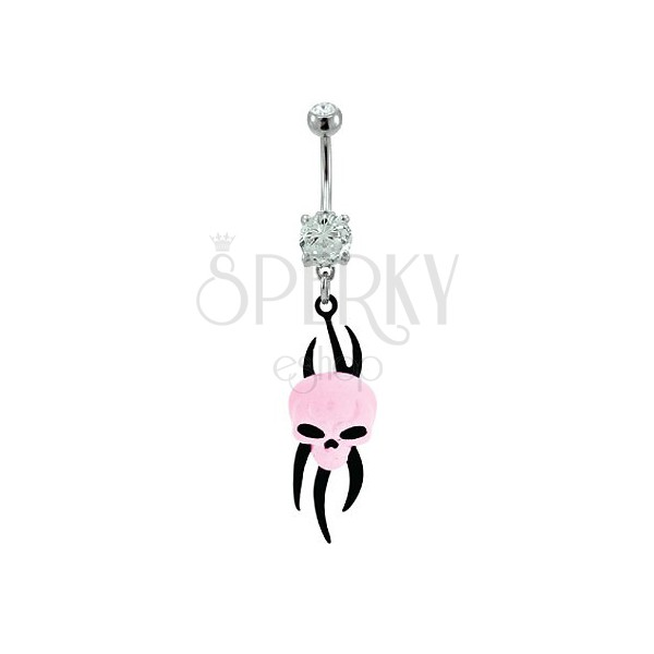 Pink alien belly button ring