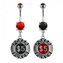 Poker chip belly button ring