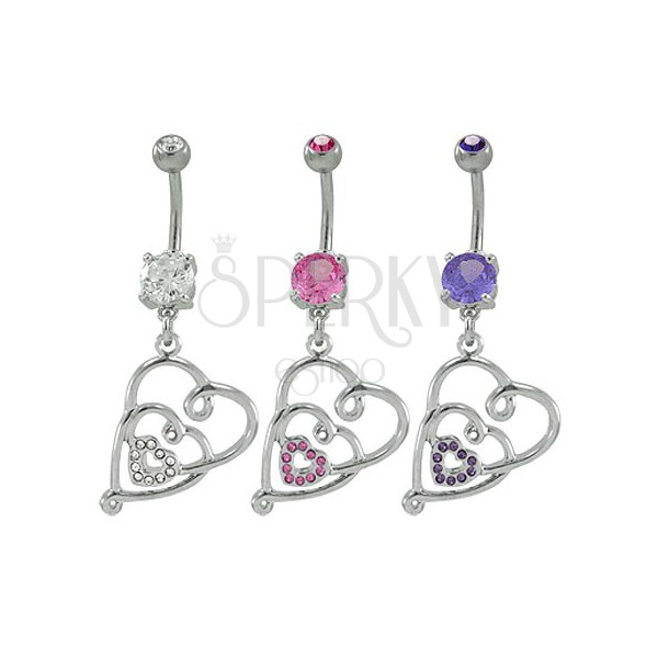 Navel ring - tangled hearts with zircons