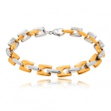 Steel bracelet - shiny H-links in gold and silver colour