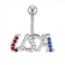 Navel ring - USA acronym with zircons