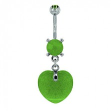 Heart belly ring - light green natural stone