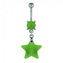 Star belly ring - light green natural stone