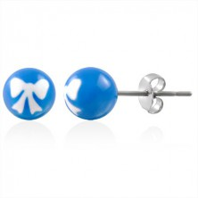 Stainless steel earrings - ball beads with ribbon