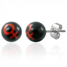 Small stud earrings - ball beads with the WOMAN symbol