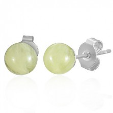 Steel - amber ball earrings - yellow, 6 mm