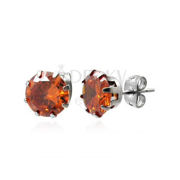 Steel stud earrings with orange stone 8 mm