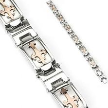 Steel bracelet in silver colour with Fleur De Lis cross in gold hue