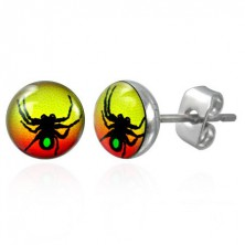 Stud steel earring with spider