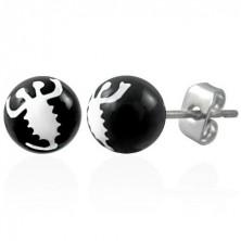 Black steel earrings - white scorpion