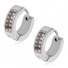Steel hinged snap earrings, cricles with black asymmetric pattern