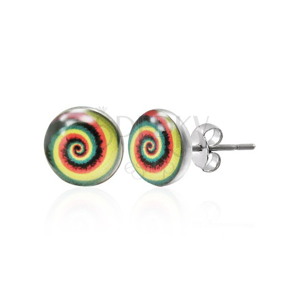 Colourful steel earrings - spiral